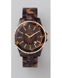 Michael Kors | Brown Round Oversized Tortoiseshell Watch | Lyst