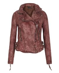 Muubaa | Red Flax Raw Leather Biker Jacket | Lyst