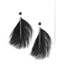 Natasha Couture   Metallic Large Feather & Chain Earrings   Lyst