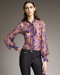 RED Valentino | Purple Pansy-print Blouse | Lyst