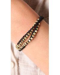 Shashi - Black Double Petit Golden Nugget Adjustable Bracelet - Lyst