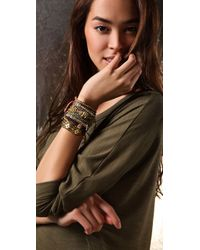 Shashi - Brown Single Petit Golden Nugget Adjustable Bracelet - Lyst