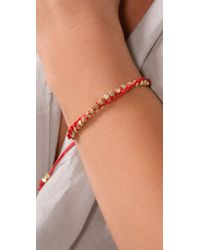 Shashi - Red Single Petit Golden Nugget Adjustable Bracelet - Lyst
