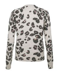Sonia by Sonia Rykiel | Gray Grey and Coral Leopard Print Cardigan | Lyst