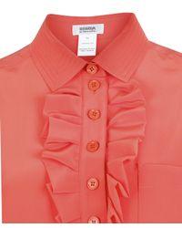 Sonia by Sonia Rykiel Orange Silk Ruffle Shirt Dress