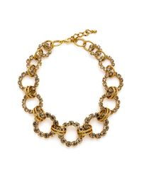 Tasha | Metallic Pavé Open Circle Necklace | Lyst