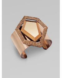ABS By Allen Schwartz - Metallic Glass Stone Encrusted Brass Bangle Bracelet - Lyst