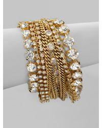 ABS By Allen Schwartz | Metallic Multirow Chain Link Bracelet | Lyst