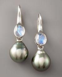 Assael - Gray Moonstone & Pearl Earrings - Lyst