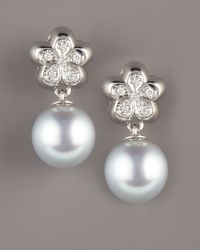 Assael | White South Sea Flower Earrings | Lyst