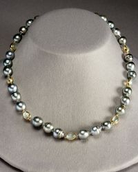 Assael | Metallic Tahitian Pearl and Moonstone Strand Necklace | Lyst