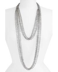 Cara | Metallic Multi Row Chain Necklace | Lyst