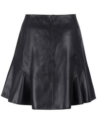 Carven - Black Leather Frill Skirt - Lyst
