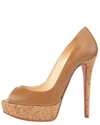 Christian Louboutin | Brown Banana Cork-heel Pump | Lyst