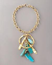 Devon Leigh - Blue Turquoise Drop Necklace - Lyst