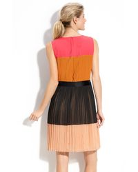 DKNY | Multicolor Colorblock Pleat Detail Dress | Lyst