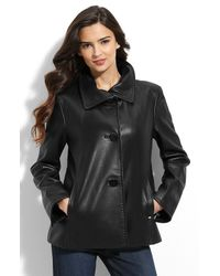 Ellen Tracy | Black Leather Swing Coat | Lyst