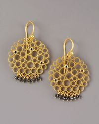 Gurhan | Metallic Black Diamond Circle Earrings | Lyst