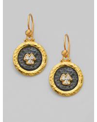 Gurhan | Metallic Pavé Diamond & 24k Yellow Gold Drop Earrings | Lyst