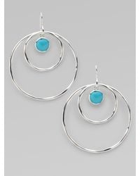 Ippolita - Metallic Turquoise Cabochon & Sterling Silver Hoop Earrings - Lyst