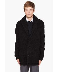 John Varvatos | Black Hairy Shawl Cardigan for Men | Lyst