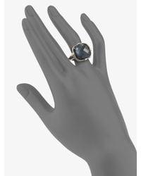 Judith Ripka - Blue Quartz & Hematite Doublet Cushion Stone Ring - Lyst