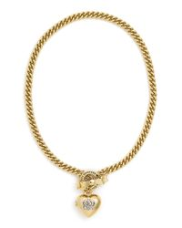 Juicy Couture | Metallic Crown Icons Heart Locket Necklace | Lyst