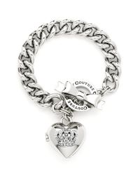 Juicy Couture | Metallic Crown Icons Heart Locket Bracelet | Lyst