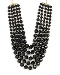 Kate Spade | Black Bead Bib Necklace | Lyst