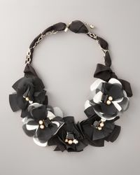 kate spade new york | Black Fabric Flower Necklace | Lyst