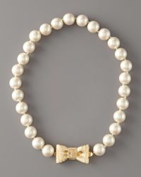 kate spade new york - Natural Bow- Clasp Pearl Necklace - Lyst