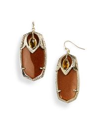 Kendra Scott | Brown Darby Oval Stone Statement Earrings | Lyst
