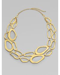 Kenneth Jay Lane - Metallic Asymmetrical Link Necklace - Lyst