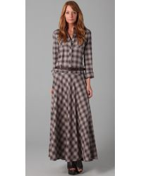 L.A.M.B. | Brown Maxi Plaid Dress | Lyst