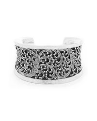 Lois Hill | Metallic Granulated Hammered Silver Cuff Bracelet | Lyst