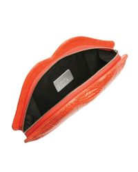 Lulu Guinness - Orange Sun Blush Snakeskin Lips Clutch - Lyst