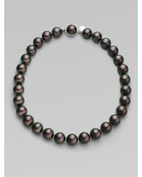 Majorica - Gray 12mm Tahitian Pearl Necklace/16 - Lyst