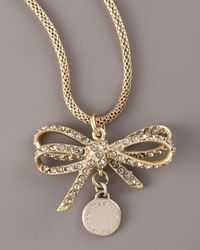 Marc By Marc Jacobs - Metallic Pave Bow Pendant Necklace - Lyst