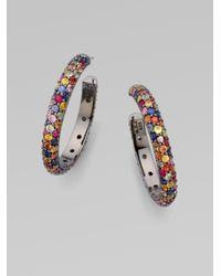M.c.l  Matthew Campbell Laurenza - Multicolor Multi-colored Sapphire Pavé Hoop Earring - Lyst