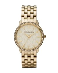 Michael Kors | Metallic Golden Watch with Mk Logo and Glitz for Men | Lyst