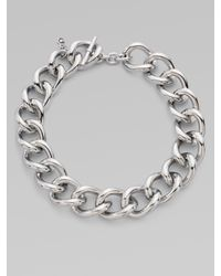 Michael Kors - Metallic Silvertone Short Chunky Necklace - Lyst