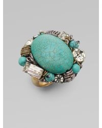 Ranjana Khan - Blue Turquoise & Crystal Cocktail Ring - Lyst