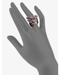 Saint Laurent | Black Gunmetal-Finished Artsy Dot Ring | Lyst