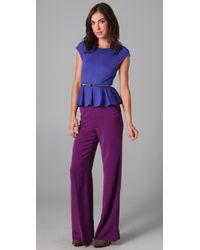 Alice + Olivia | Purple High Waist Wide Leg Pants | Lyst