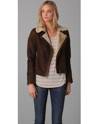 Doma Leather | Brown Moto Jacket W/ Shearling Lining | Lyst
