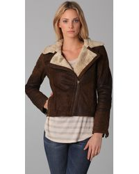 Doma Leather - Brown Moto Jacket W/ Shearling Lining - Lyst