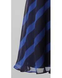 Halston | Blue Striped Short Dress | Lyst