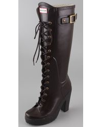 HUNTER - Brown Lapins Lace Up High Heel Boots - Lyst