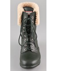 HUNTER | Black Adley Lace Up Flat Boots | Lyst