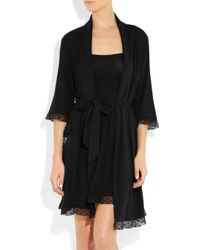 Juicy Couture - Black Ruffle Hearts Stretch-modal Robe - Lyst